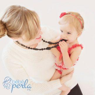 Collier maman à mâcher en silicone - MONROE BLACK | Silicone chewable Mommy necklace
