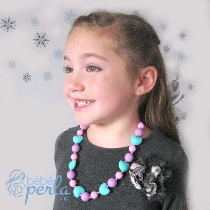 Collier à croquer en silicone - Rose et Aqua   Silicone chewable necklace - Pink and Aqua