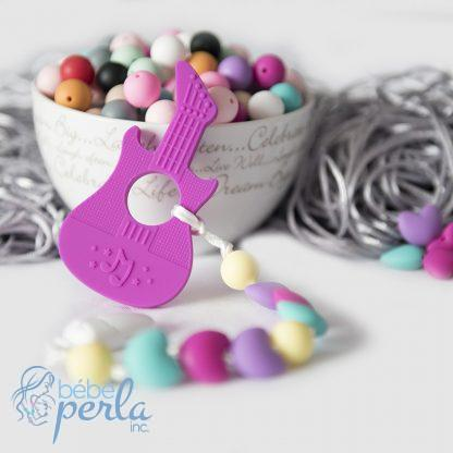 Silicone dentition guitare rose perles à mâcher | Silicone Teething Guitar pink chew beads