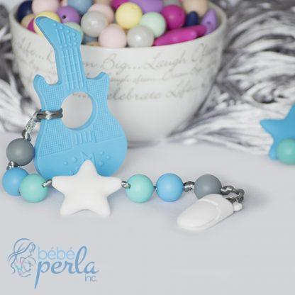 Perles à mâcher en silicone pour guitare dentaire | Silicone Teething Guitar blue chew beads