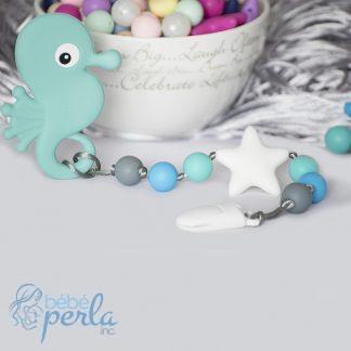 Jouet de dentition en silicone Seahorse Aqua | Silicone teething toy Seahorse Aqua