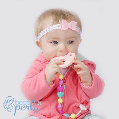 Jouet de dentition en silicone éléphant rose BRELLE | Silicone teething toy pink elephant