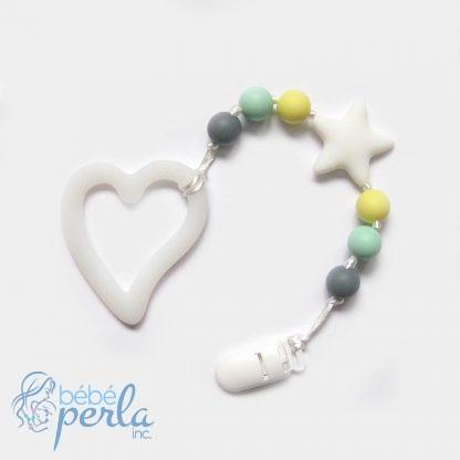 Coeur de dentition en silicone love on hand blanc et jaune | Silicone teething heart love on hand white and yellow