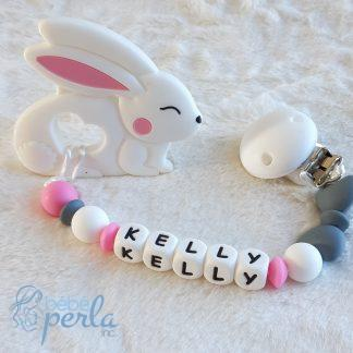 Silicone teething clip Kelly